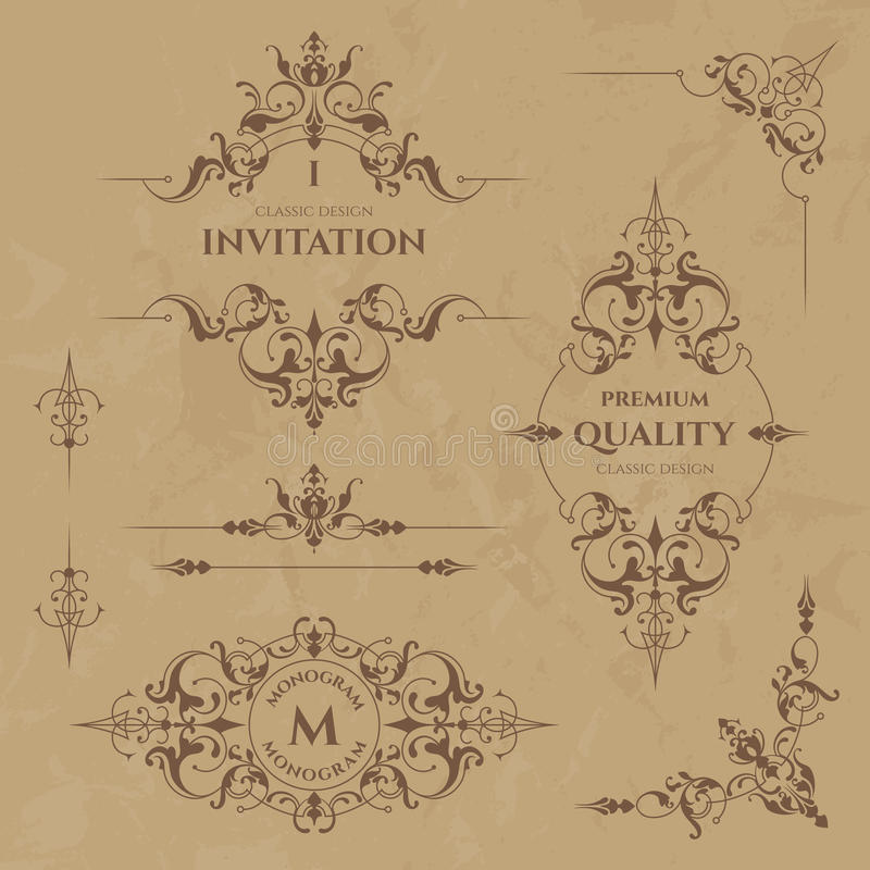 Set dekoracyjne granicy, ramy, kąty i monogramy, ilustracja wektor