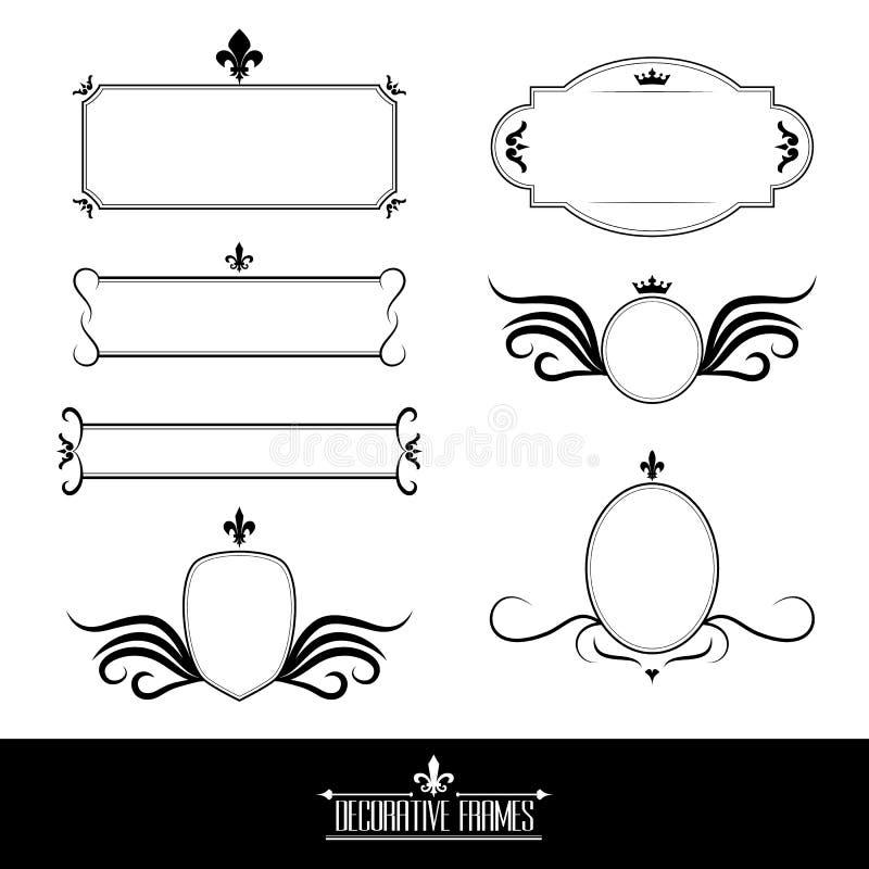 Set dekoracyjne ozdobne ramy i granicy royalty ilustracja