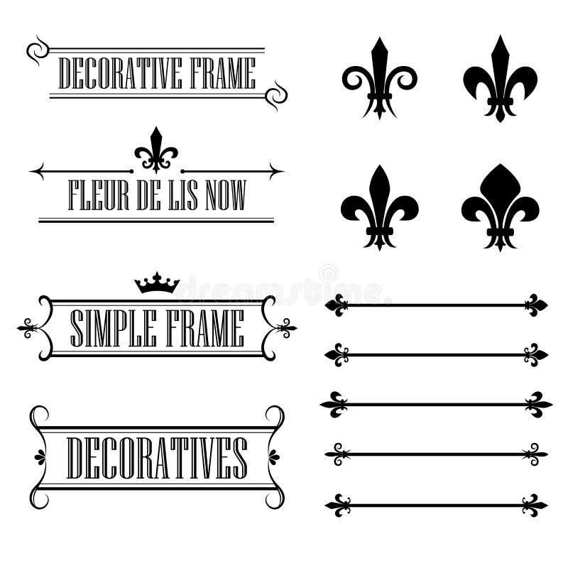 Set dekoracyjne ramy, deviders i granicy, - Fleur De Lis styl ilustracja wektor