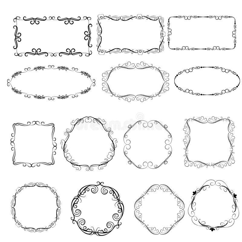 Set dekoracyjne ramy ilustracja wektor