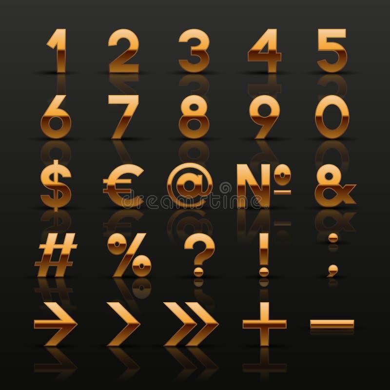 Set dekoracyjne złote liczby i symbole royalty ilustracja