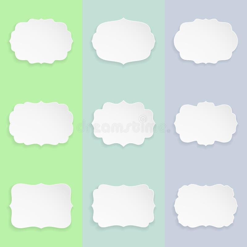 Set 9 dekoracyjnych eleganckich papierowych kształtów etykietek z cieniem Nowożytne ramy z cieniem ilustracja wektor
