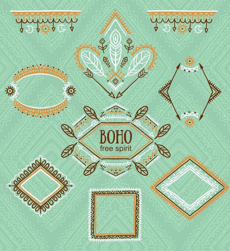 Set dekorative Felder Indische Sammlung des Vektors für BOHO-Design lizenzfreie abbildung
