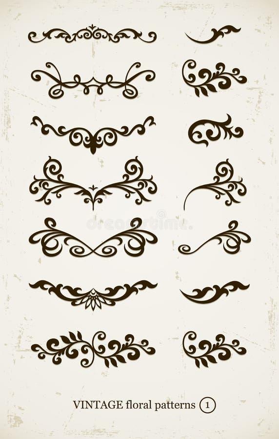 Set dekorative Muster der Weinlese vektor abbildung