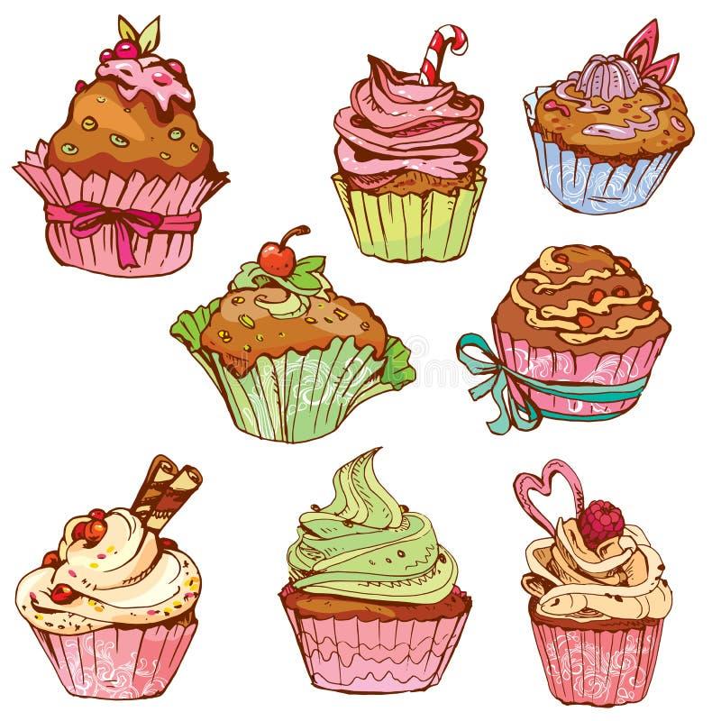 Set dekorować słodkie babeczki - elementy dla kawiarni ilustracji