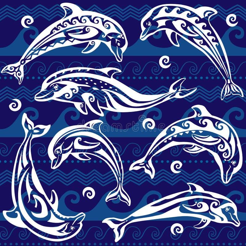 Set Dekorowałem delfin ilustracji