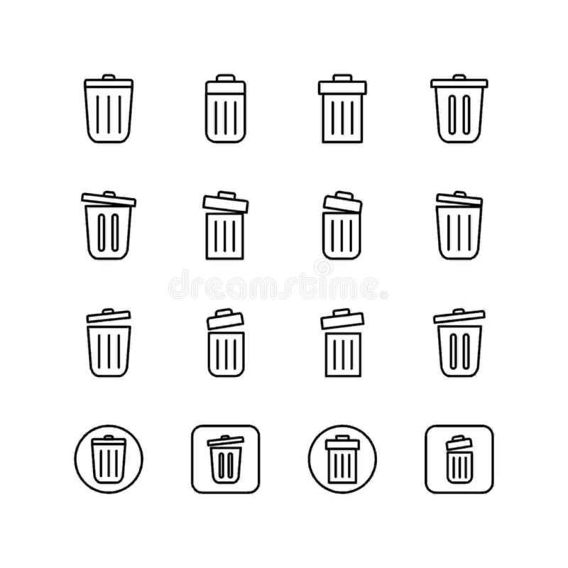 Set of delete line icon design, black outline vector icons, isolated against the white background. vector illustration
