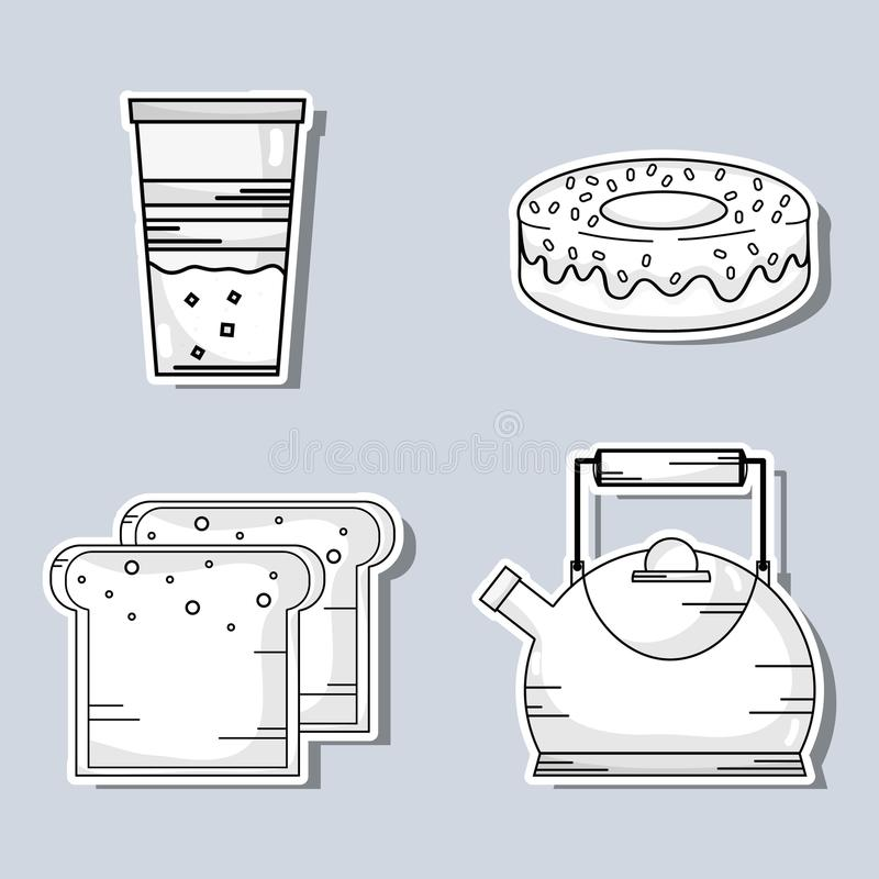 Set delicious coffe with differents taste vector illustration