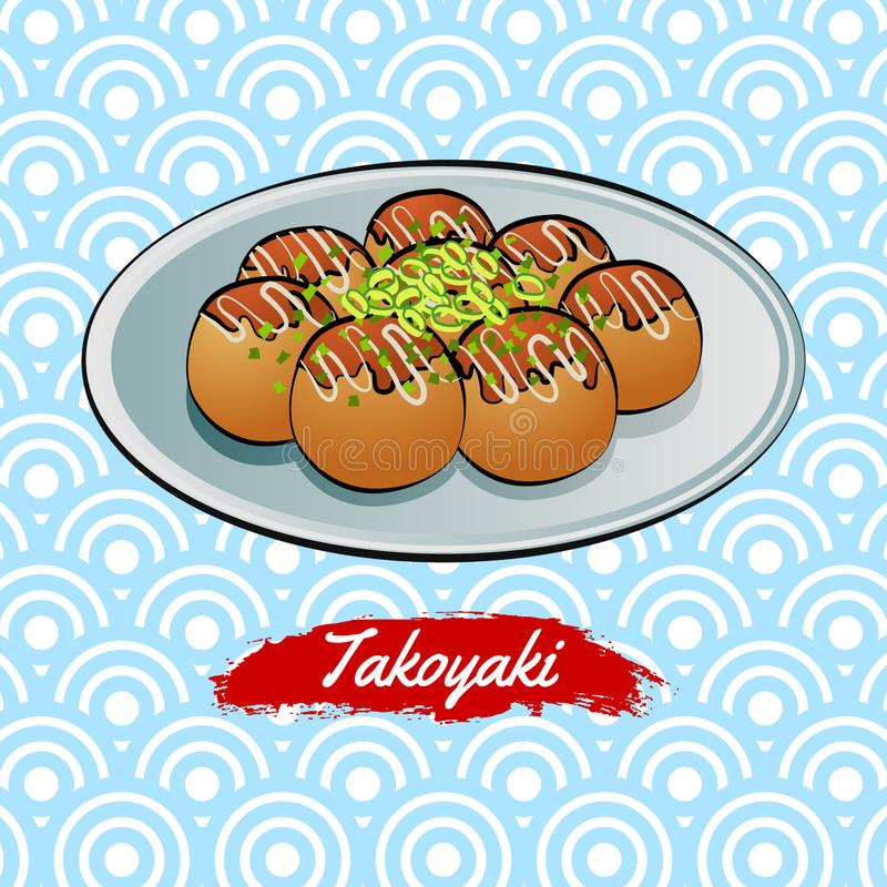 Set of delicious and famous food of Japanese,Takoyaki,in colorful gradient design icon vector illustration