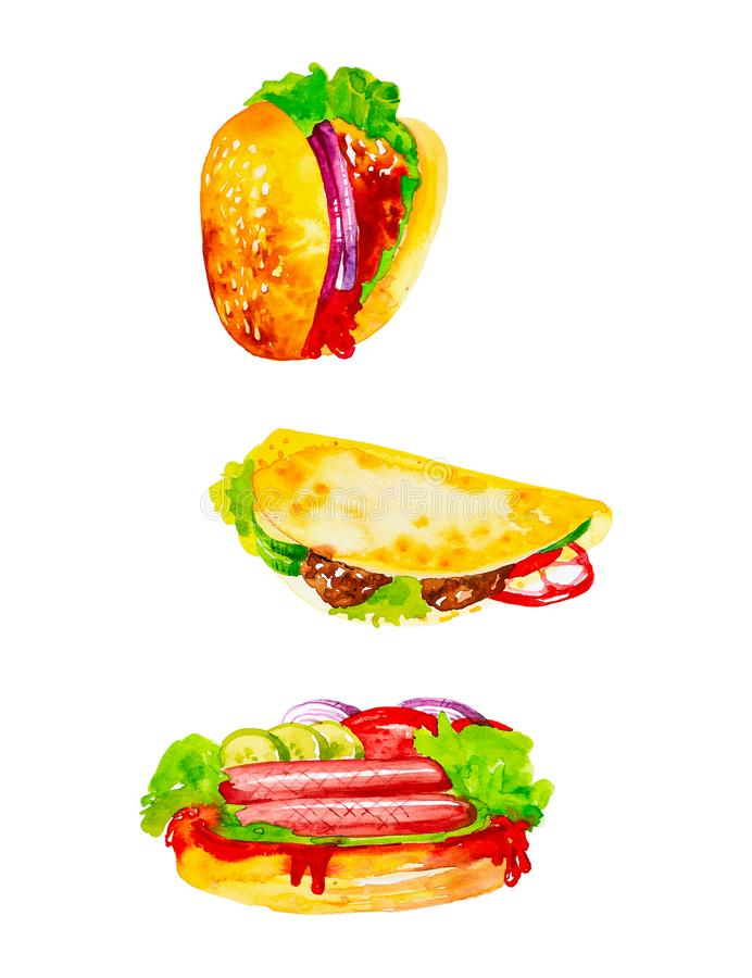 Set of delicious fresh hamburger,quesadilla and hot dog sausages with herbs,cucumbers and tomatoes. Watercolor illustrations stock illustration