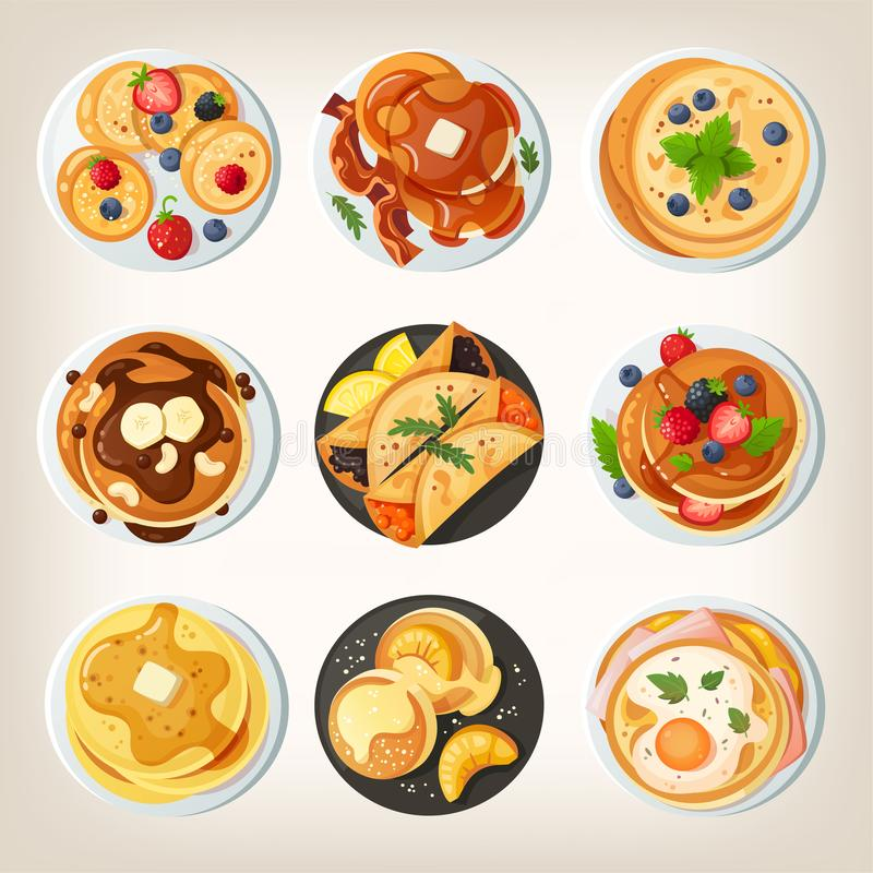 Set of delicious pancake dishes. View from above. Set of delicious pancake dishes. Isolated vector images. View from above royalty free illustration