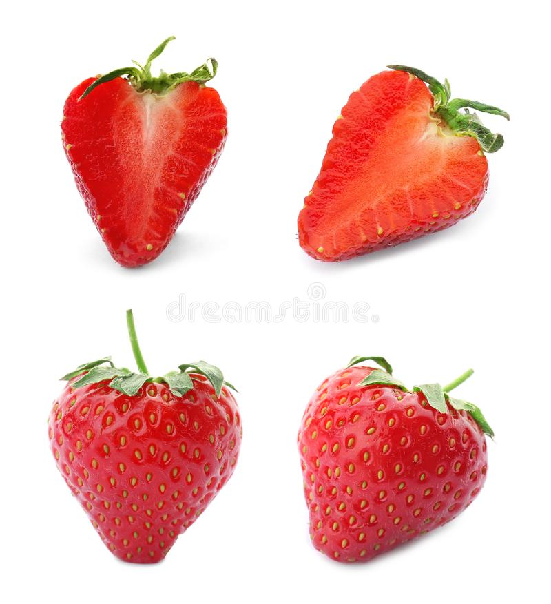 Set with delicious sweet strawberries. On white background stock images