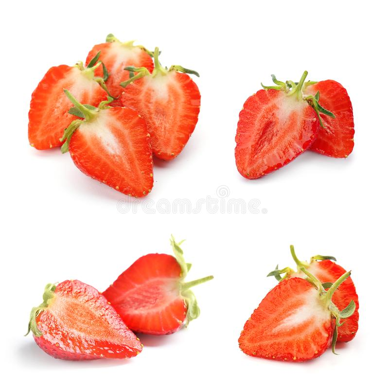 Set with delicious sweet strawberries. On white background stock photo