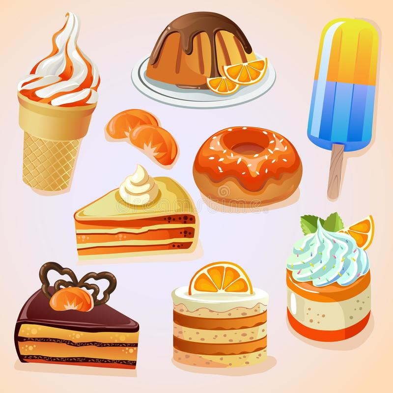 Set of delicious sweets and desserts with citrus flavor vector illustration