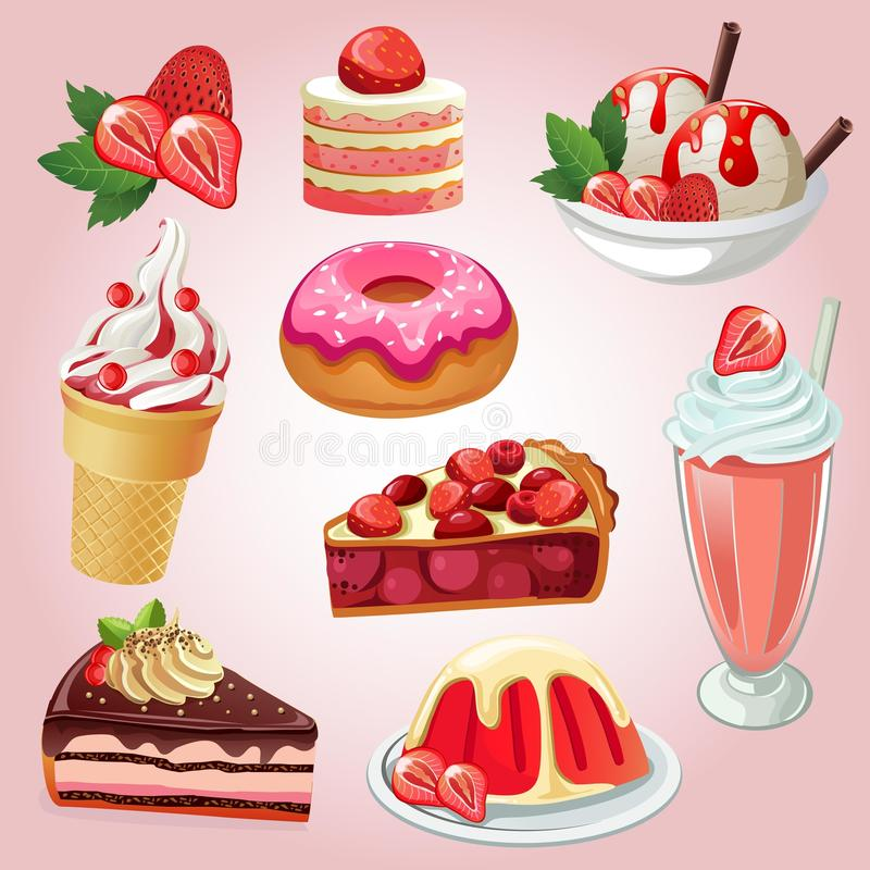 Set of delicious sweets and desserts with strawberry flavors. Food such as cake, donut, milkshake, ice cream, jelly / gelatin. additional file in eps 10 royalty free illustration