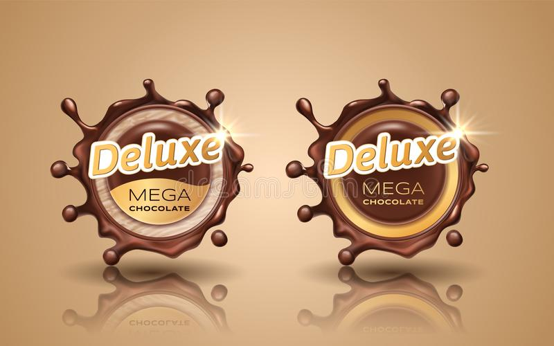 Set of deluxe design labels in gold color isolated on background. Swirl dynamic splash of dark chocolate. Chocolate stock illustration