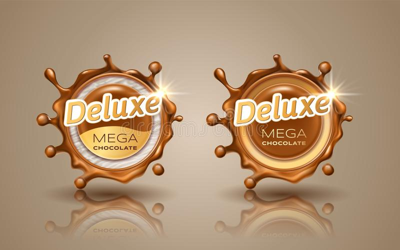 Set of deluxe design labels in gold color isolated on background. Swirl dynamic splash of milk chocolate. Chocolate royalty free illustration