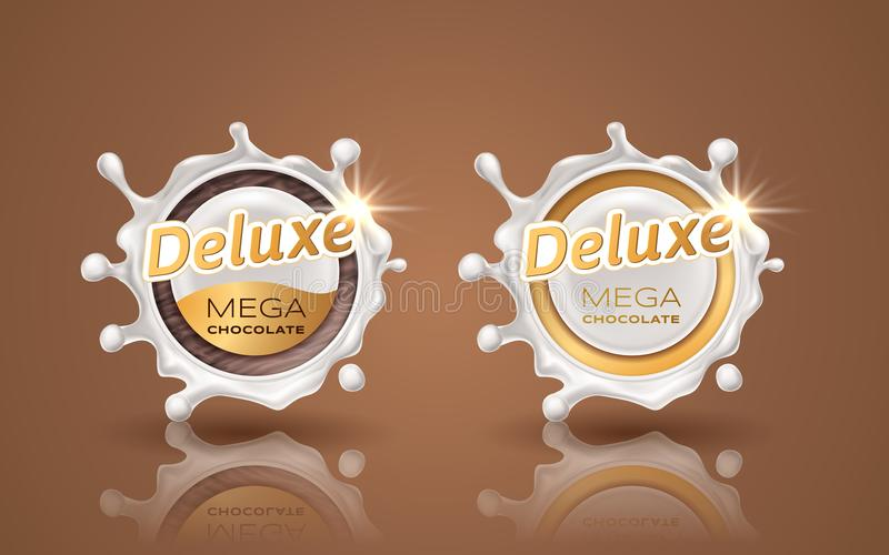 Set of deluxe design labels in gold color isolated on background. Swirl dynamic splash of milk. White chocolate circular stock illustration