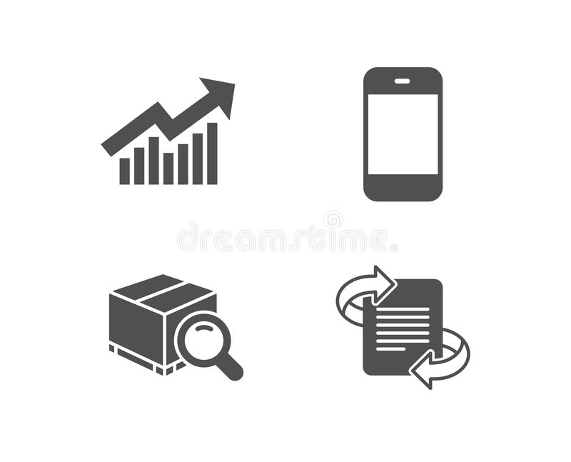Demand curve, Search package and Smartphone icons. Marketing sign. stock illustration