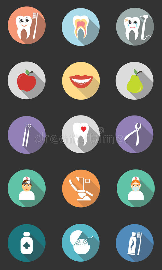 Set of 15 dental icons. Modern flat design with long shadows. stock illustration