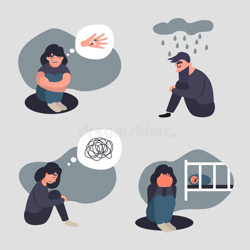 Set of depressed axiety people. stock illustration