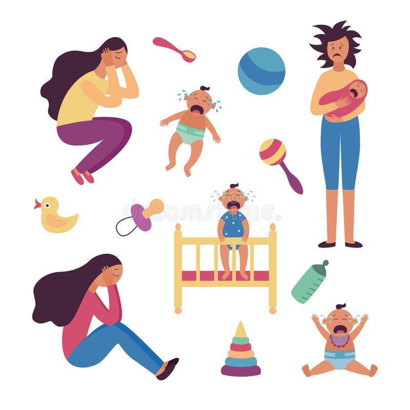 Set of depressed tired women and crying babies and toys flat cartoon style. Vector illustration isolated on white background. Female postnatal or postpartum vector illustration
