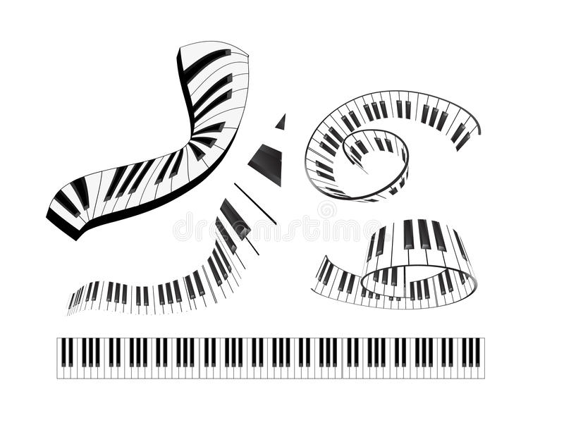 Set der abstrakten Klaviertastatur stock abbildung
