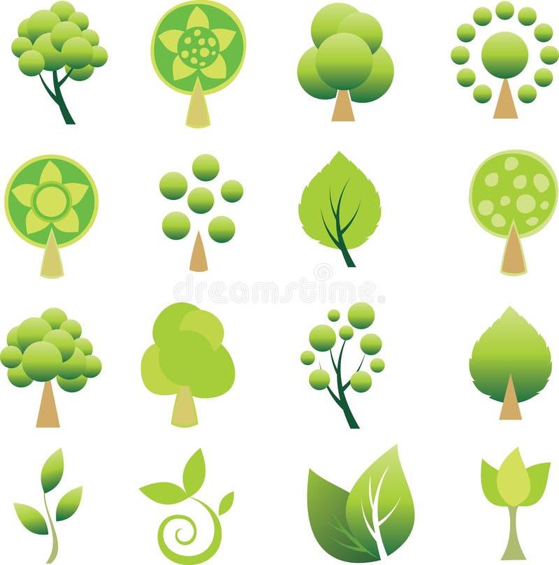 Set der Bäume und des Blattes. lizenzfreie abbildung