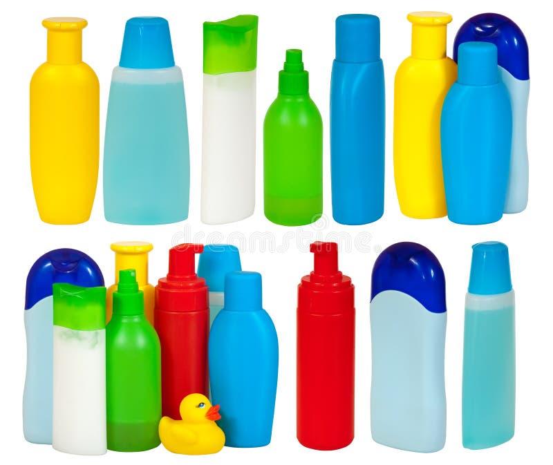 Set der Flasche vieler Toilettenartikel stockfotografie