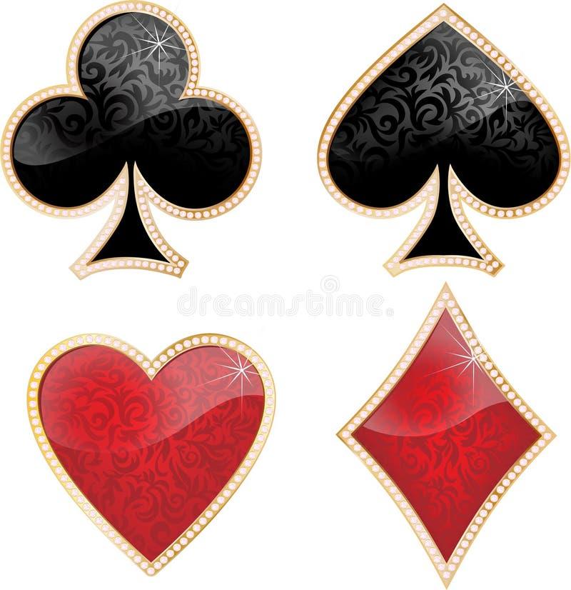 Set der glänzenden Kartenklage. stock abbildung