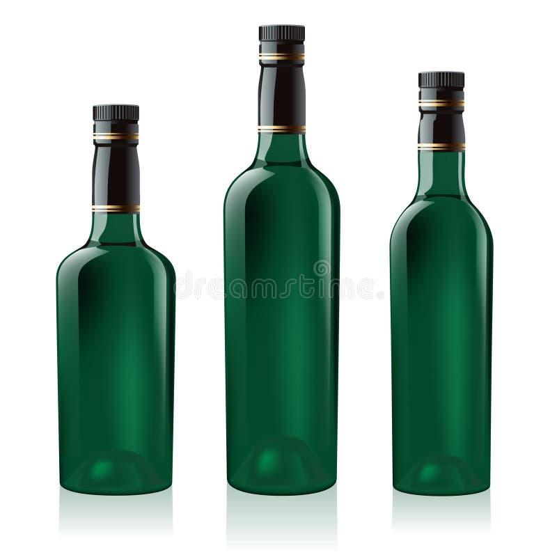 Set der grünen Weinflasche stock abbildung