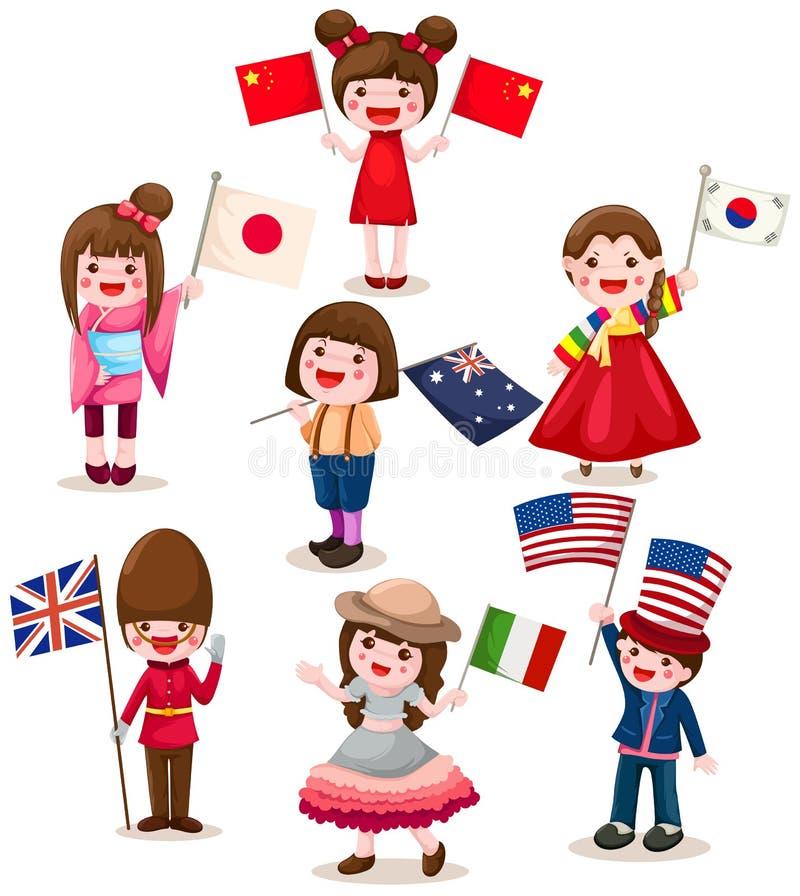 Set der Holdingmarkierungsfahne der internationalen Kinder stock abbildung