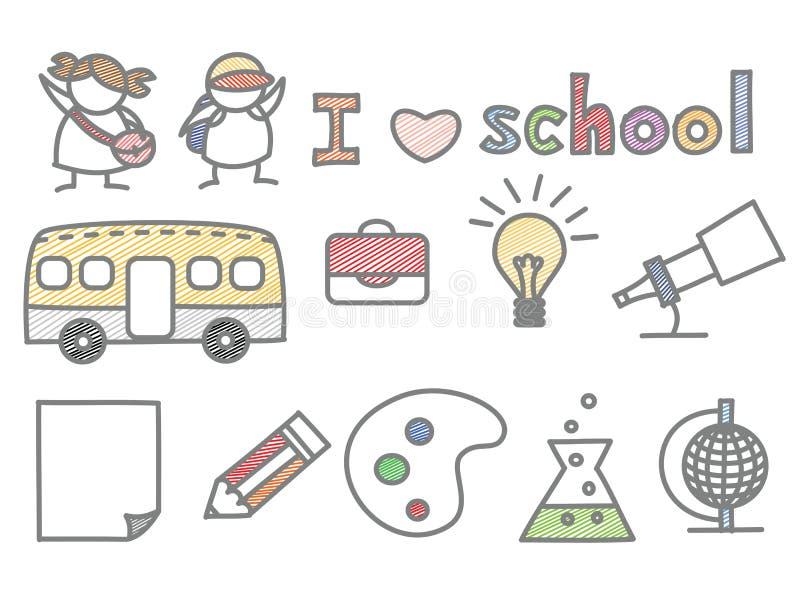 Set der Kindliebesschule stock abbildung