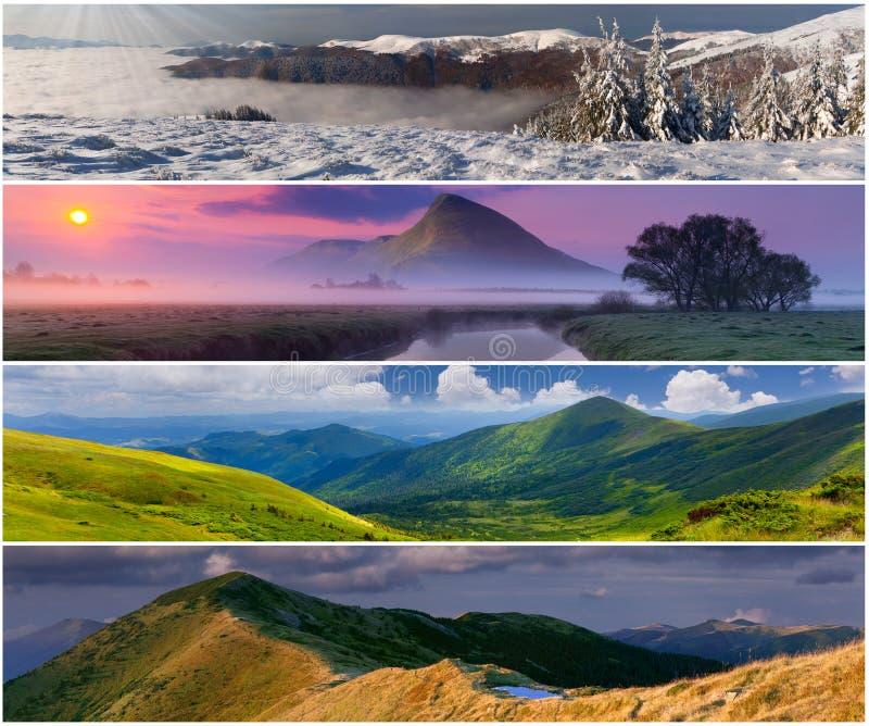 Set der Landschaft mit 4 Jahreszeiten lizenzfreie stockfotografie