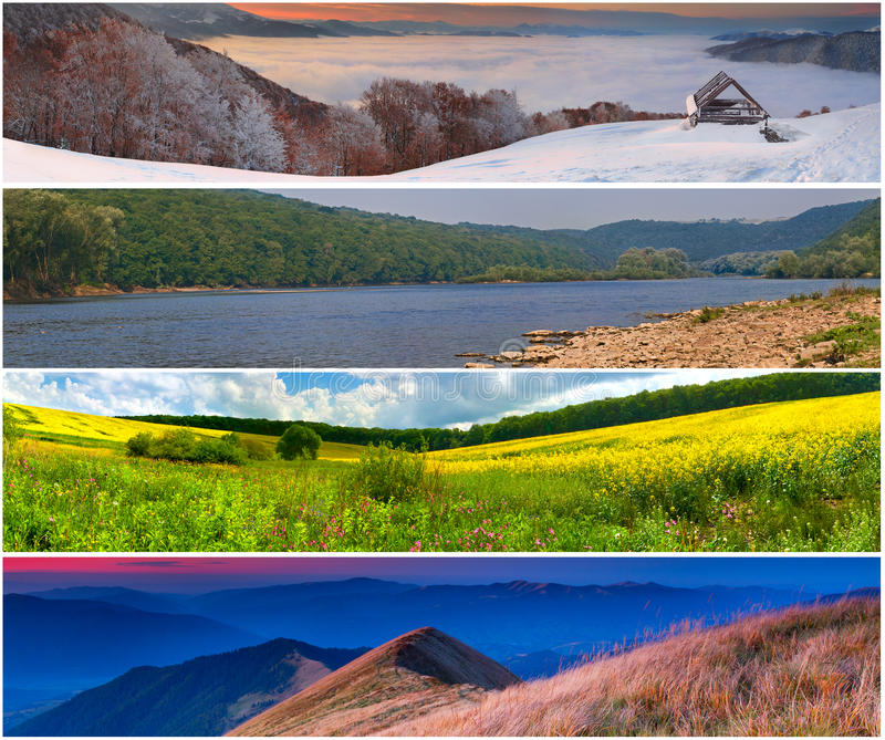 Set der Landschaft mit 4 Jahreszeiten stockbild