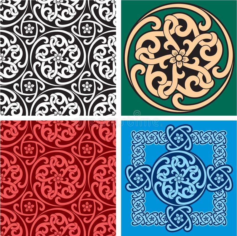 Set der nahtlosen Muster und des Auslegung-Elements lizenzfreie abbildung