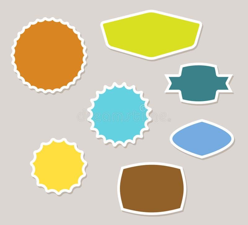 Set der vektorweinlese beschriftet Abzeichen und Aufkleber stock abbildung