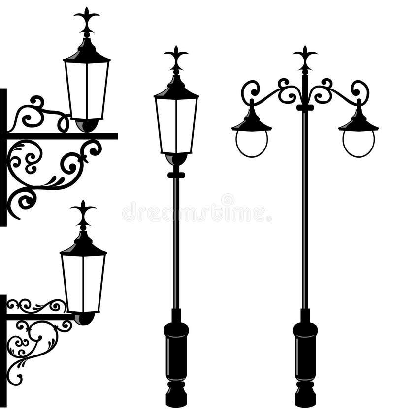 Set der verschiedenen Straßenbeleuchtung der Weinlese lizenzfreie abbildung