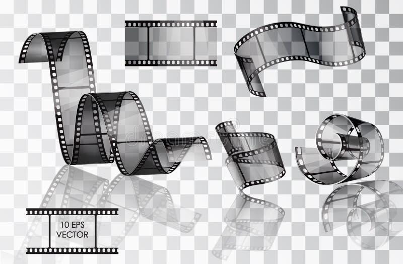 Set des gebogenen fotographischen Filmes lizenzfreie abbildung