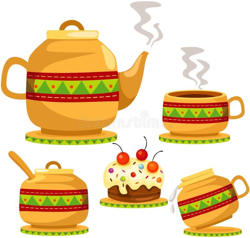 Set des Kaffees und des Kuchens vektor abbildung