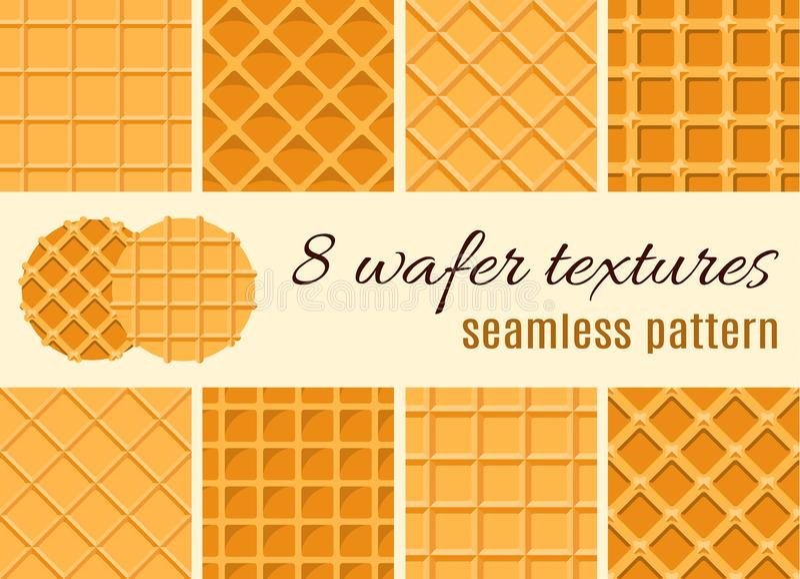 Set des nahtlosen Musters Die Beschaffenheit der Waffel, eine Eistüte Karikaturillustration für Netz, Standort, annoncierend lizenzfreie abbildung