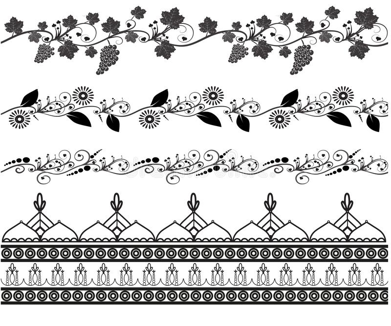 Set des nahtlosen Musters Mehndi stock abbildung