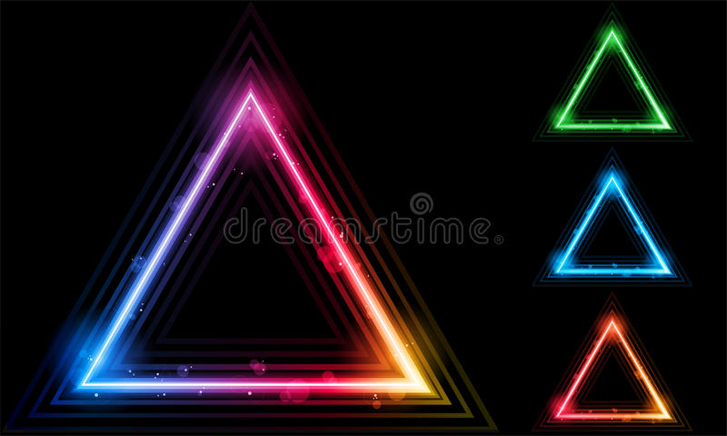 Set des Neonlaser-Dreieck-Randes lizenzfreie abbildung