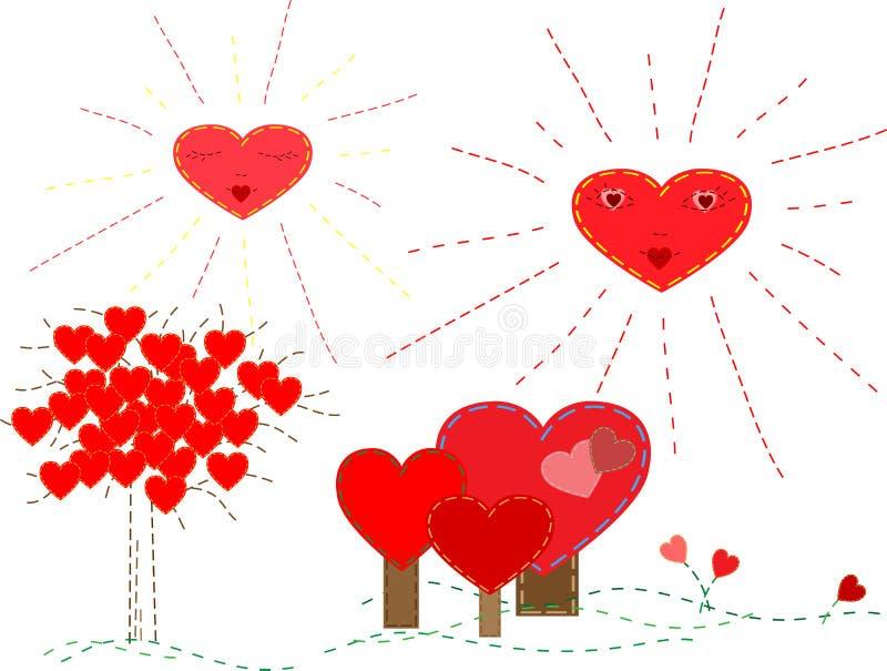 Set des netten Valentinsgrußes stockbilder