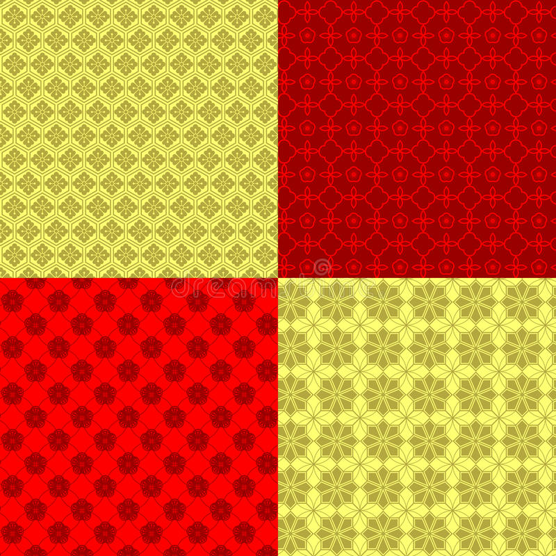 Set des orientalisches Neujahrsfest-nahtlosen Musters stock abbildung