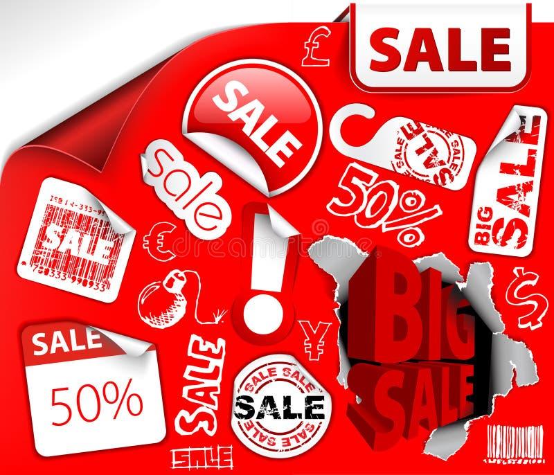 Set des roten Rabattes etikettiert, Kennsätze, Stempel stock abbildung