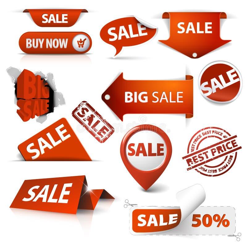 Set des Verkaufs etikettiert, Kennsätze, Stempel, Aufkleber stock abbildung