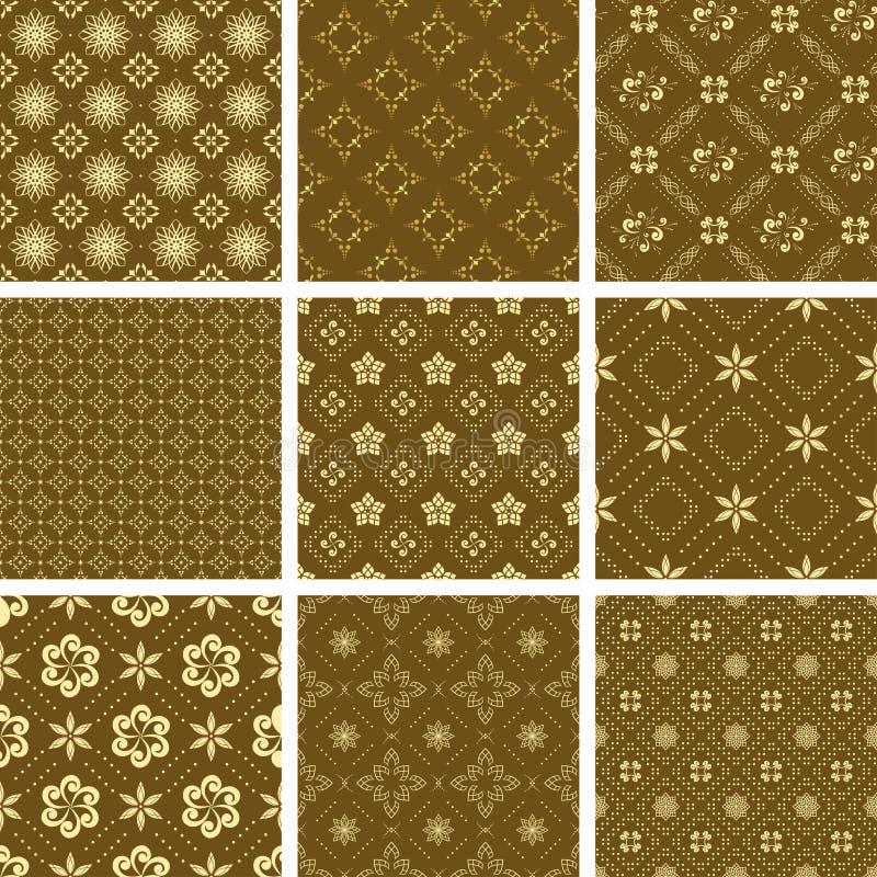 Set des verschiedenen nahtlosen goldenen Musters lizenzfreie abbildung