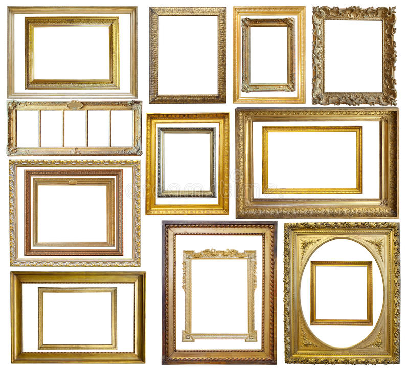 Set des Weinlesegoldbilderrahmens lizenzfreies stockfoto