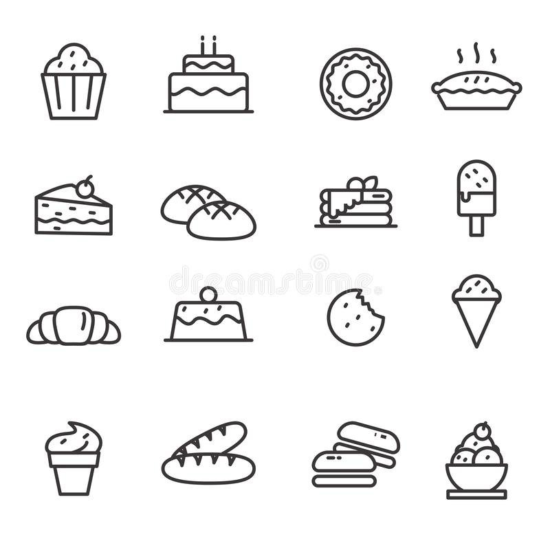 Set of desert related vector illustration with simple line design. Such as cake, doughnut, pie and more suitable for icon or illustration vector illustration